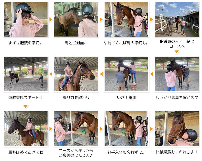 体験乗馬ステップ! まずは服装の準備。 馬とご対面♪ なれてくれば馬の準備も。 指導員の人と一緒にコースへ しっかり馬具を確かめて イザ!乗馬 乗り方を教わり 体験乗馬スタート! 馬もほめてあげてね! コースから戻ったらご褒美のにんじん♪ お手入れも忘れずに。 体験乗馬おつかれさま!